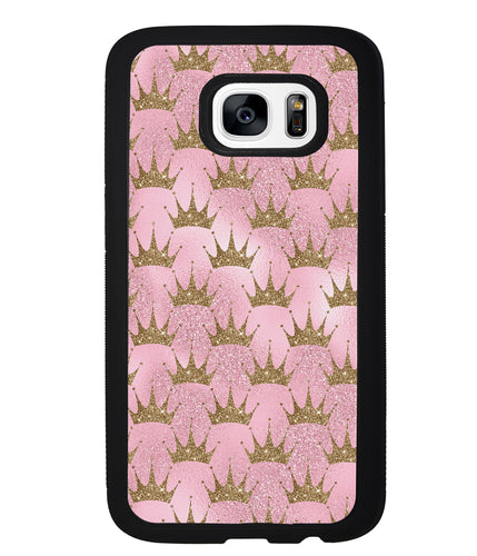 Pink Glitter Gold Crown | Samsung Phone Case