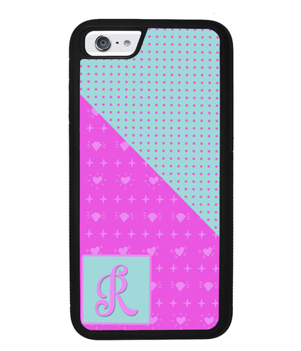 Pink Hearts and Teal Polkadots Initial | Apple iPhone Case
