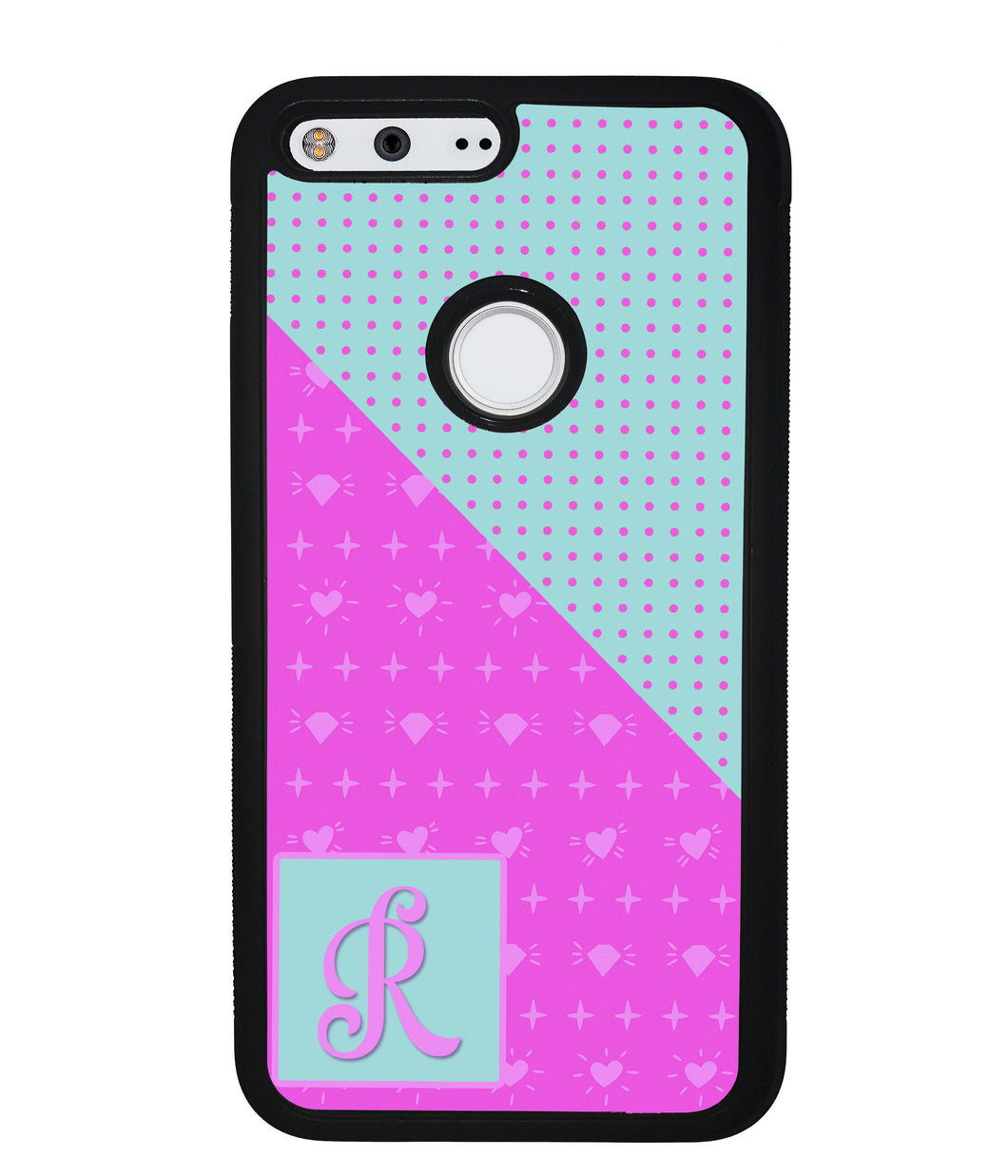 Pink Hearts and Teal Polkadots Initial | Google Phone Case