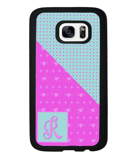 Pink Hearts and Teal Polkadots Initial | Samsung Phone Case