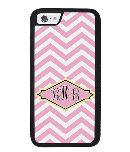 Pink Lemonade Chevron Monogram | Apple iPhone Case