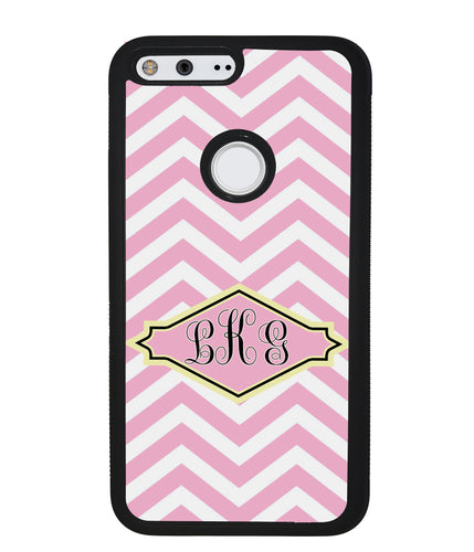 Pink Lemonade Chevron Monogram | Google Phone Case