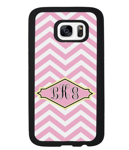 Pink Lemonade Chevron Monogram | Samsung Case
