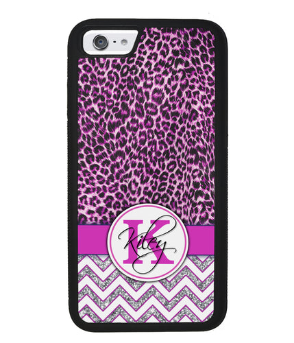 Pink Leopard Silver Glitter Personalized | Apple iPhone Case