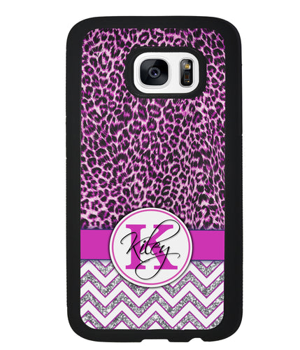 Pink Leopard Silver Glitter Personalized | Samsung Phone Case