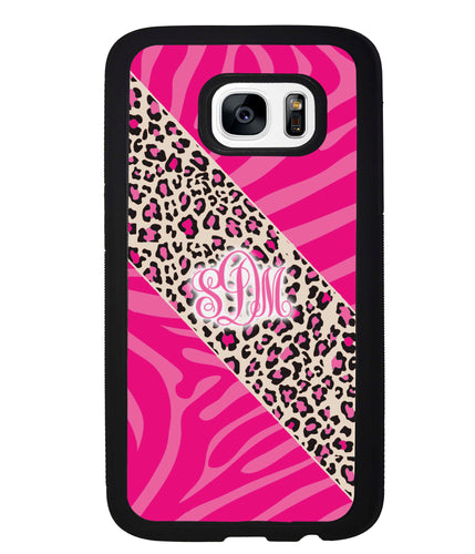 Pink Leopard and Zebra Animal Skin Monogram | Samsung Phone Case