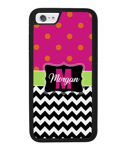 Pink Polka Dot Black White Chevron Personalized | Apple iPhone Case