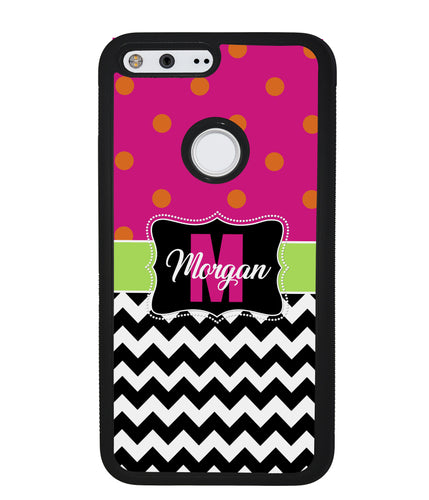 Pink Polka Dot Black White Chevron Personalized | Google Phone Case
