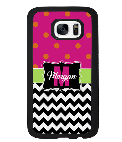 Pink Polka Dot Black White Chevron Personalized | Samsung Phone Case