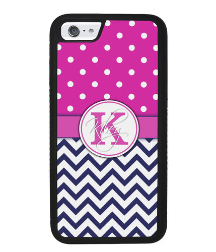 Pink Polka Dots Blue Chevron Personalized | Apple iPhone Case