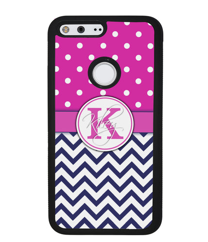 Pink Polka Dots Blue Chevron Monogram | Google Case