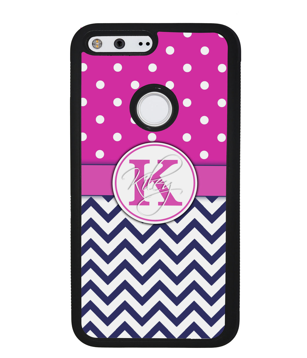 Pink Polka Dots Blue Chevron Personalized | Google Phone Case
