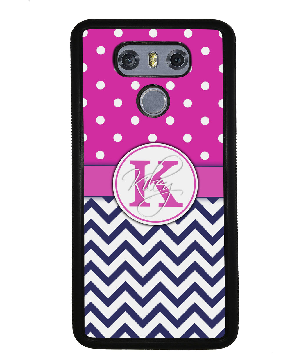Pink Polka Dots Blue Chevron Personalized | LG Phone Case