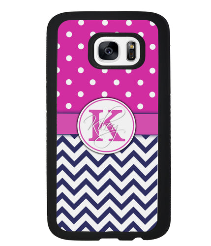Pink Polka Dots Blue Chevron Personalized | Samsung Phone Case