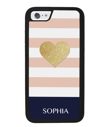 Pink White Gold Heart Personalized | Apple iPhone Case