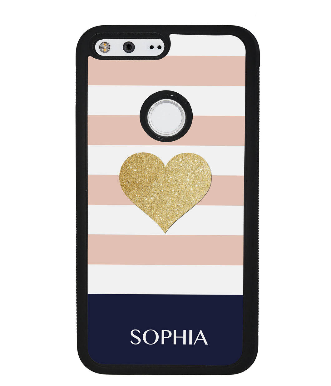 Pink White Gold Heart Personalized | Google Phone Case