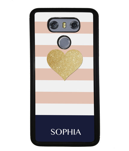 Pink White Gold Heart Personalized | LG Case