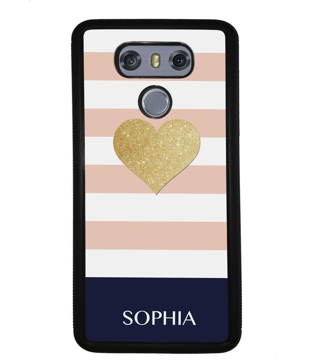 Pink White Gold Heart Personalized | LG Phone Case