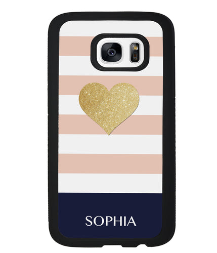 Pink White Gold Heart Personalized | Samsung Phone Case