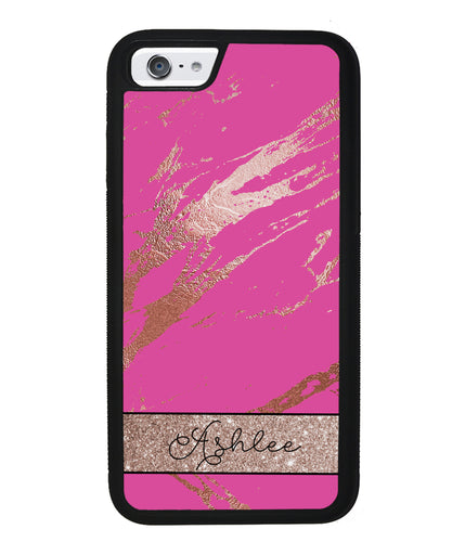 Pink an Gold Marble Personalized | Apple iPhone Case