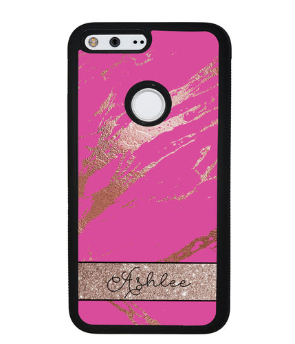 Pink an Gold Marble Personalized | Google Case