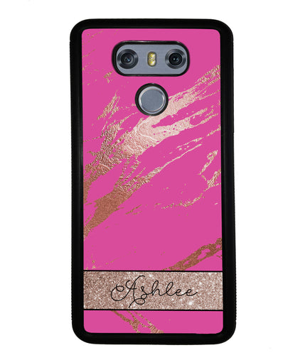 Pink and Gold Marble Personalized | LG Phone Case