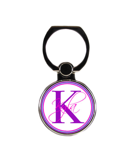 Pink and Purple Script Personalized Monogram Phone Ring