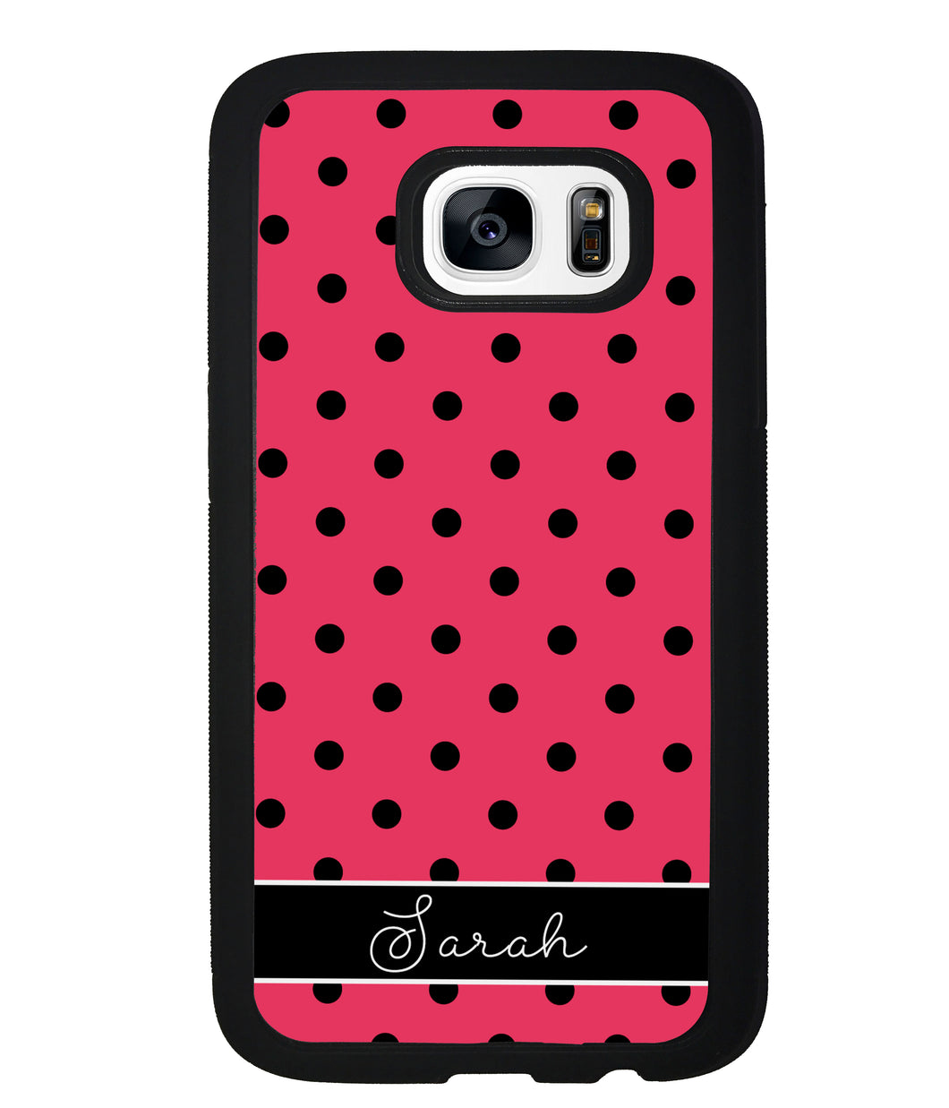 Pinkish Red Polka Dot Black Personalized | Samsung Phone Case