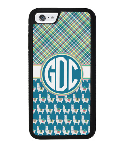Plaid Llama Monogram | Apple iPhone Case