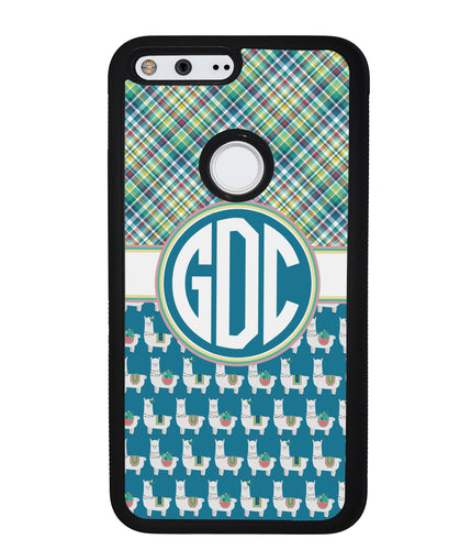 Plaid Llama Monogram | Google Phone Case