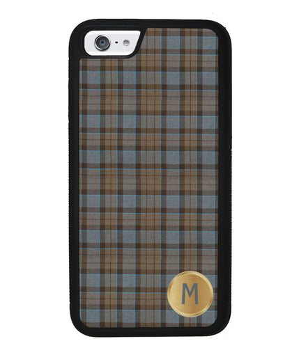 Plaid Tartan Golden Initial | Apple iPhone Case