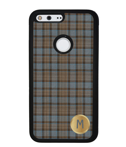 Plaid Tartan Golden Initial | Google Phone Case