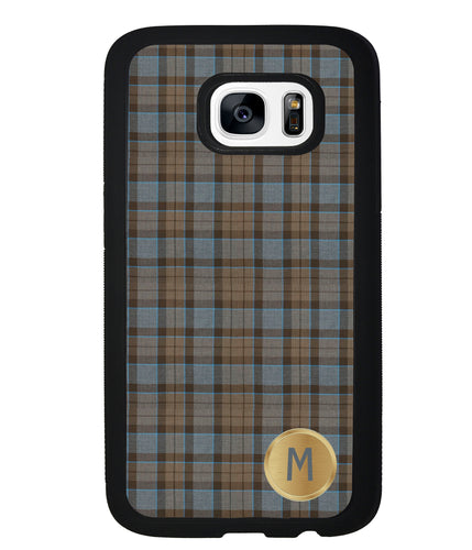 Plaid Tartan Golden Initial | Samsung Phone Case