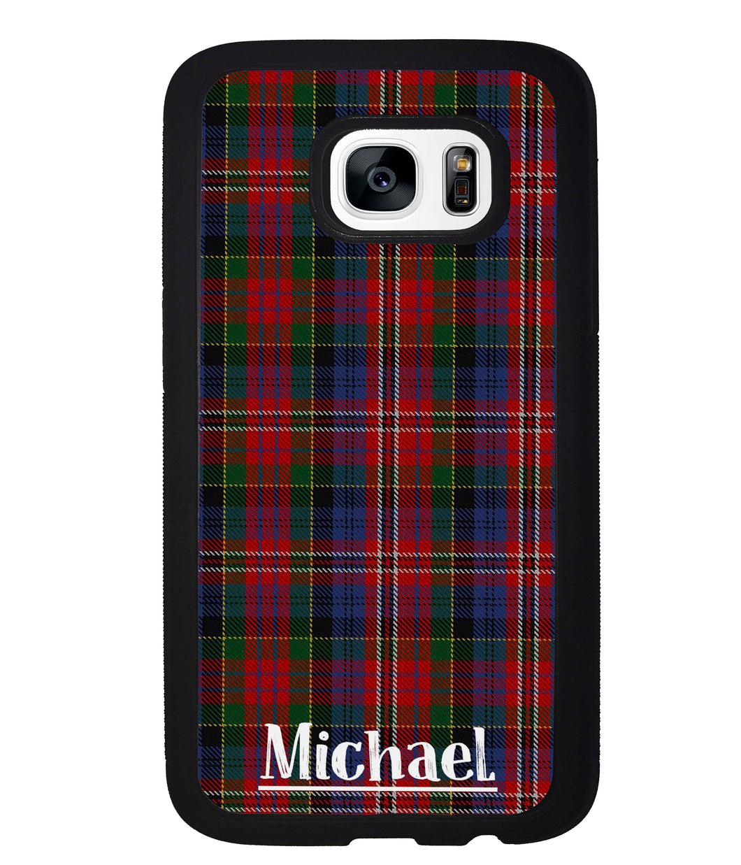 Plaid Tartan Sweater Green Blue and Red Personalized | Samsung Phone Case