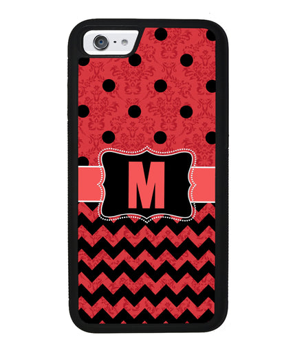 PolkaDot Chevron Damask Initial | Apple iPhone Case