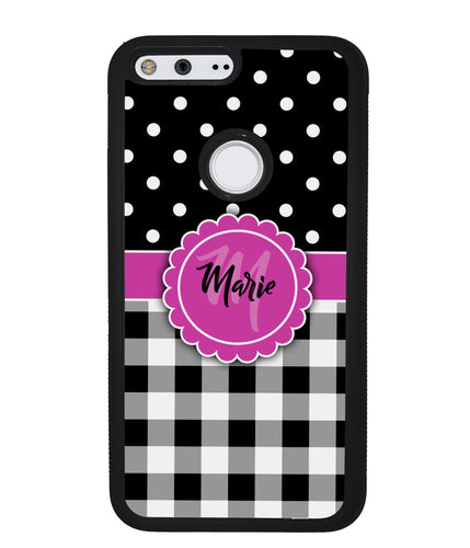 Black Polka Dot Black Plaid Monogram | Google Case