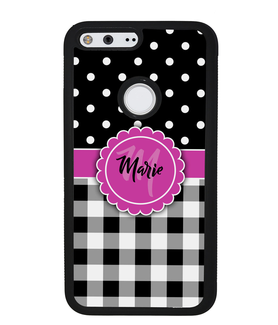 Black Polka Dot Black Plaid Personalized | Google Phone Case