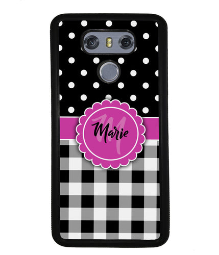 Black Polka Dot Black Plaid Personalized | LG Phone Case