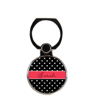 Polkadot Black White and Red Personalized Phone Ring