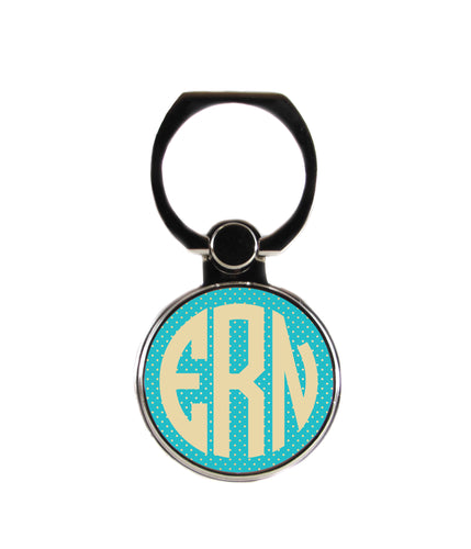 Gold and Teal Circle Personalized Monogram Phone Ring