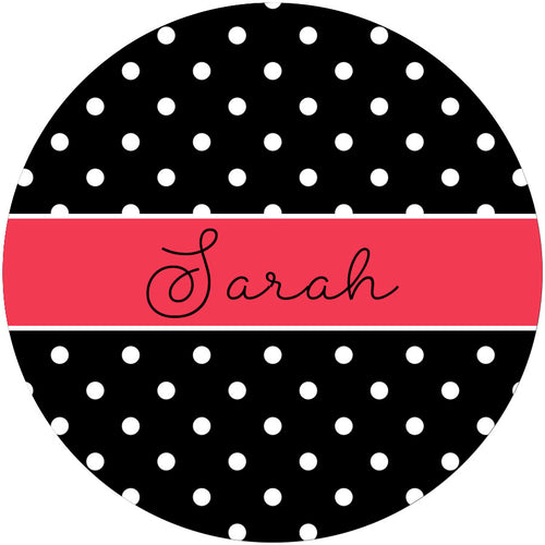 Black and White Polka Dot Personalized Phone Stand