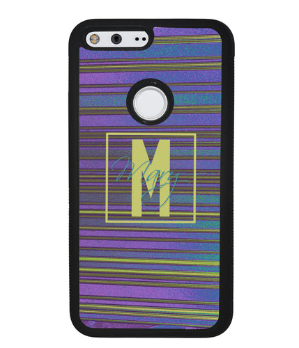 Purple & Blue Stripe 90s Monogram | Google Case