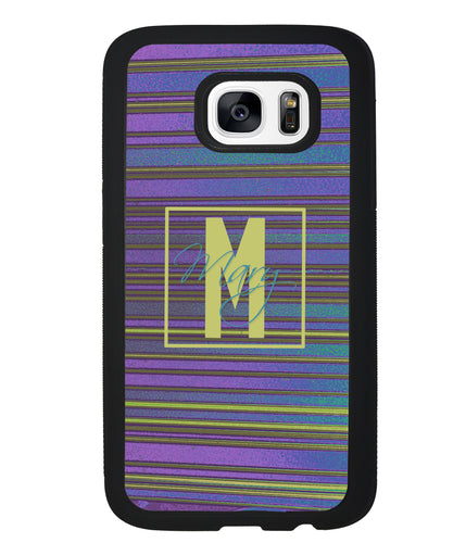 Purple & Blue Stripe 90s Monogram | Samsung Case