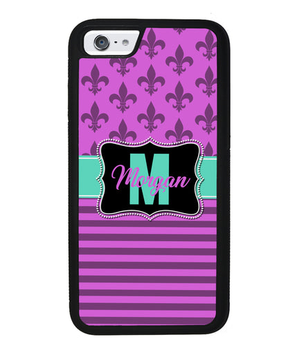 Purple Fleur De Lis Personalized | Apple iPhone Case