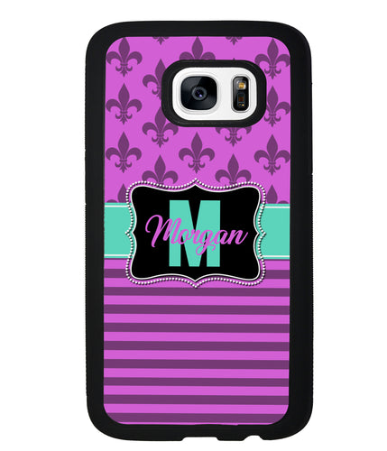 Purple Fleur De Lis Personalized | Samsung Case