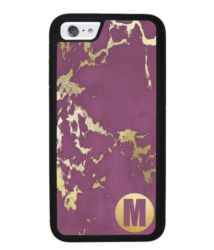 Purple and Gold Marble Initial | Apple iPhone Case