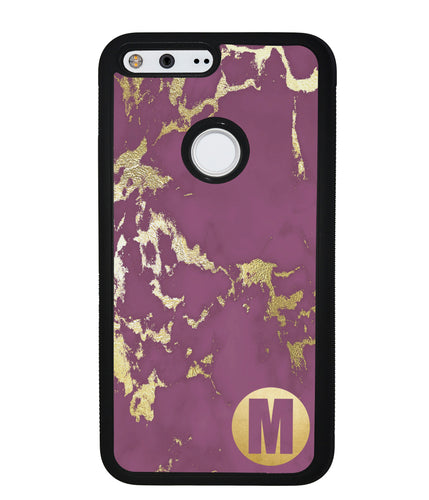 Purple and Gold Marble Initial | Google Phone Case