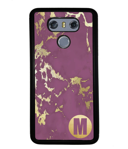 Purple and Gold Marble Initial | LG Case
