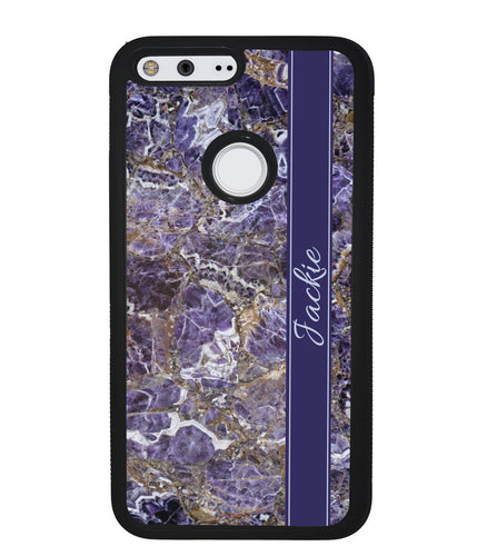 Purple and Gold Marble Personalized | Google Phone Case