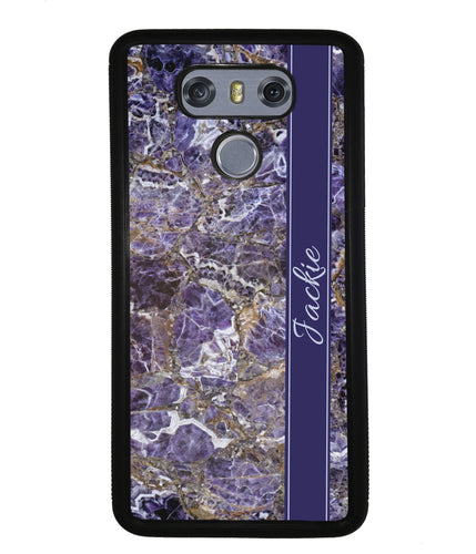 Purple and Gold Marble Personalized | LG Case